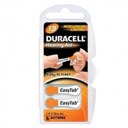 6 Piles Zinc Air 1,45 V, ACT 13 - ZA 13 - PR 48 Activair by Duracell® (languette orange)