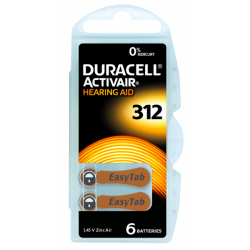 Zinc Air 1,45 V, ACT 312 - ZA 312 - PR 41 - Activair by Duracell® (languette marron)
