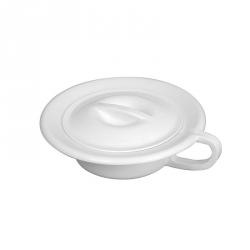 Bassin de lit rond 2,5 L + couvercle - blanc