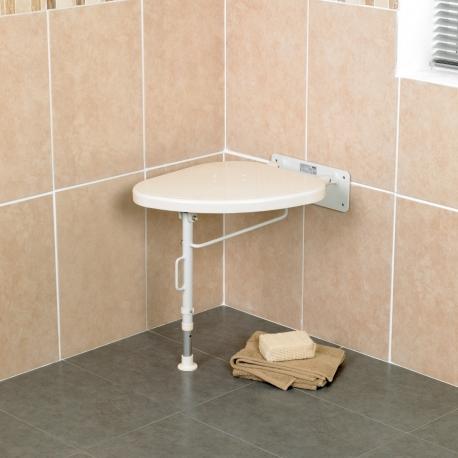 Siège de coin de douche rabattable pied à gauche