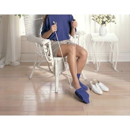 Enfile chaussettes & bas 2 cordes poignées plastiques standard -avec poignées mousse